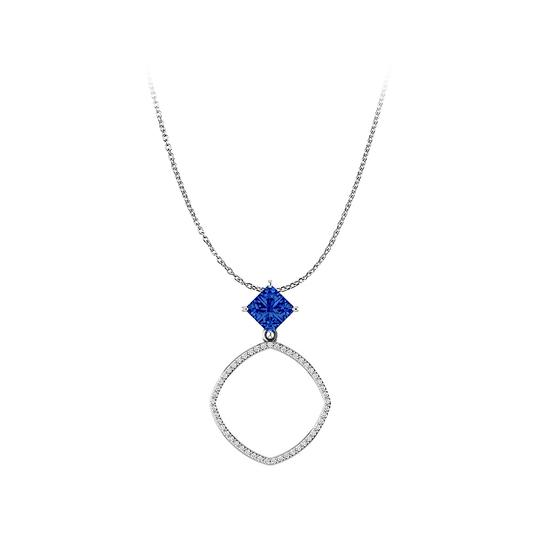 Preload https://img-static.tradesy.com/item/23908187/blue-elite-sapphire-cz-accented-open-square-freeform-pendant-necklace-0-0-540-540.jpg