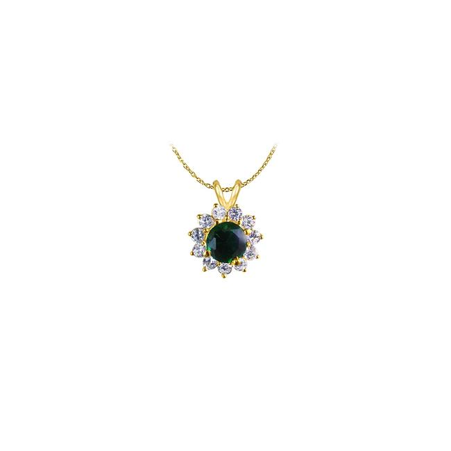 Green Emerald and Cubic Zirconia Flower Pendant In 18k Yellow Gold Vermeil T Necklace Green Emerald and Cubic Zirconia Flower Pendant In 18k Yellow Gold Vermeil T Necklace Image 1