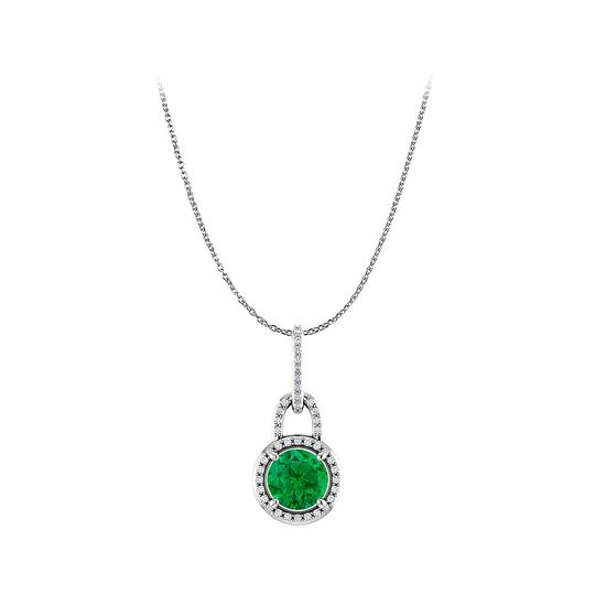 Preload https://img-static.tradesy.com/item/23908230/green-enchanting-round-emerald-and-cz-halo-pendant-in-silver-necklace-0-0-540-540.jpg