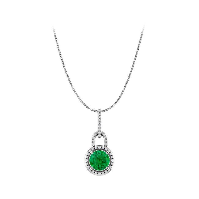 Green Enchanting Round Emerald and Cz Halo Pendant In Silver Necklace Green Enchanting Round Emerald and Cz Halo Pendant In Silver Necklace Image 1