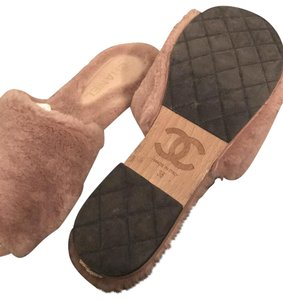 Chanel Fur Fur Blush Pink Sandals