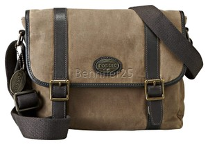 Fossil Leather Brass Casual Business Brown Messenger Bag