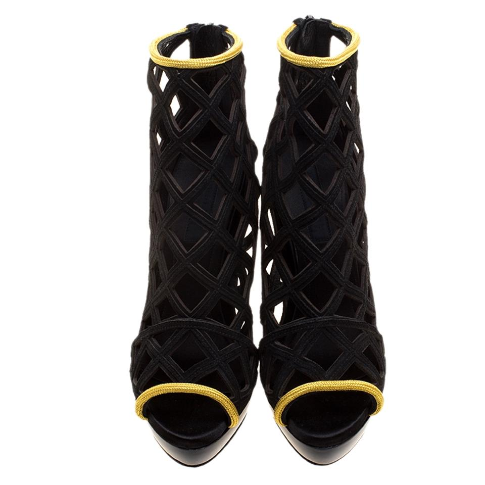 Boots and Cage Black Burberry Suede Prorsum Wedge Gold Ankle Booties Edenside q61OUxZ