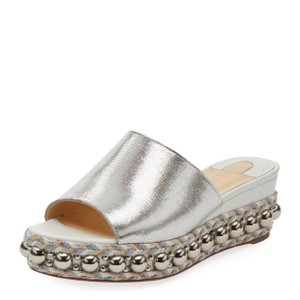 Christian Louboutin Red Sole Casual Silver and White Mules