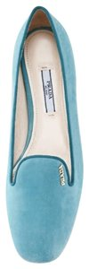 Prada Suede Loafers Blue Turquoise Flats