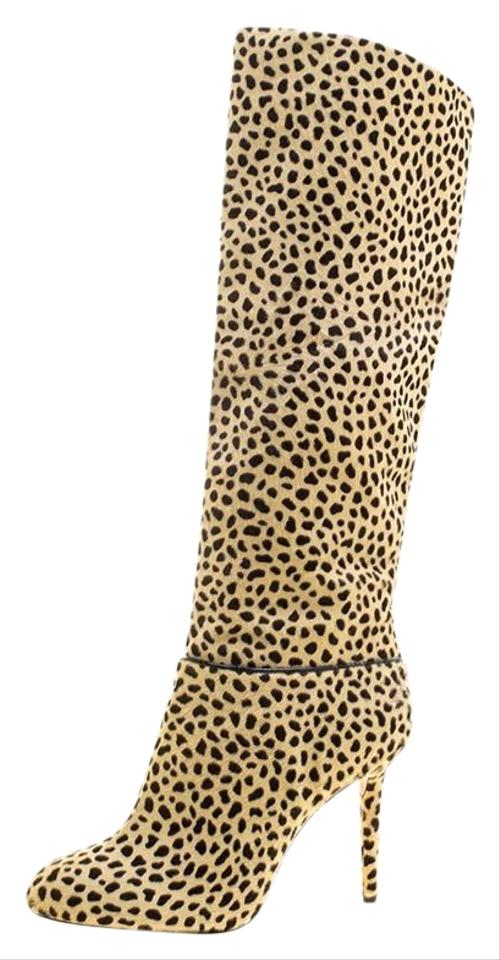 Boots Olympia Hair Knee Pony Booties Leopard Print Beige Charlotte Corine High pwZdzpqf