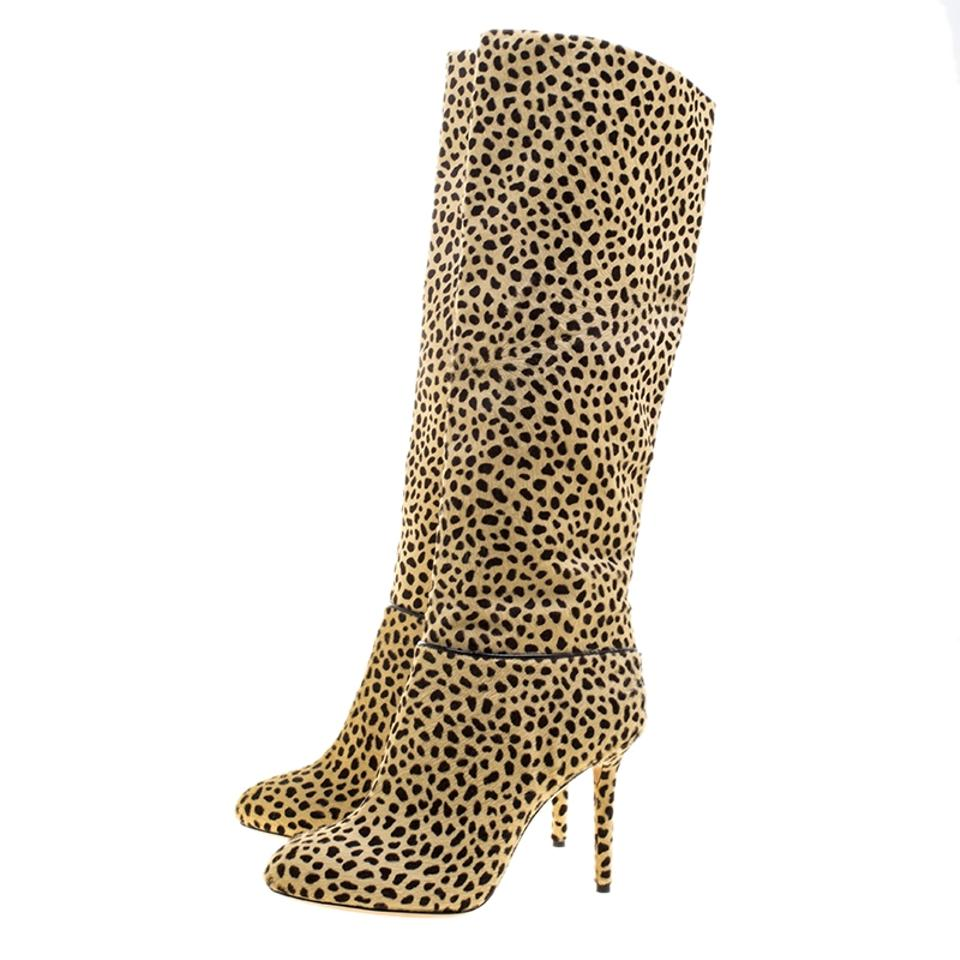 Corine High Hair Booties Leopard Pony Boots Beige Charlotte Print Olympia Knee qXYp8p