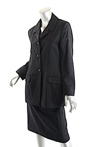 Luciano Barbera LUCIANO BARBERA Black 100% Fine Wool Summer Weight 3 Button Skirt Suit