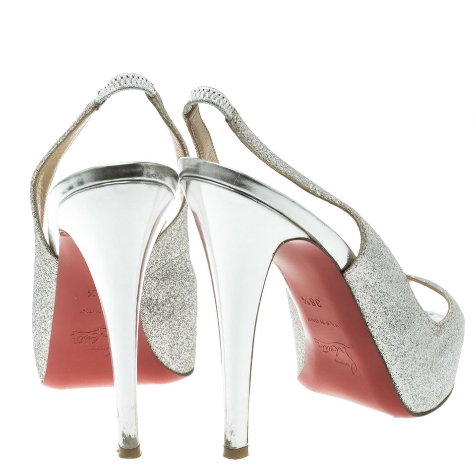 f1a9af265dcc ... Leather Metallic Slingback Louboutin Christian Silver N°prive Toe  Glitter Peep Sandals IUwqfw6 ...