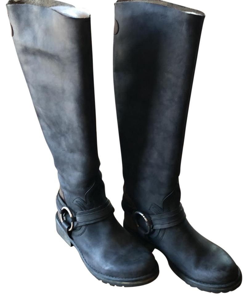 defc561689f Steve Madden Distressed Black with Brown Panel Up The Back Of Tall Biker  Boots/Booties Size US 9.5 Regular (M, B) 69% off retail