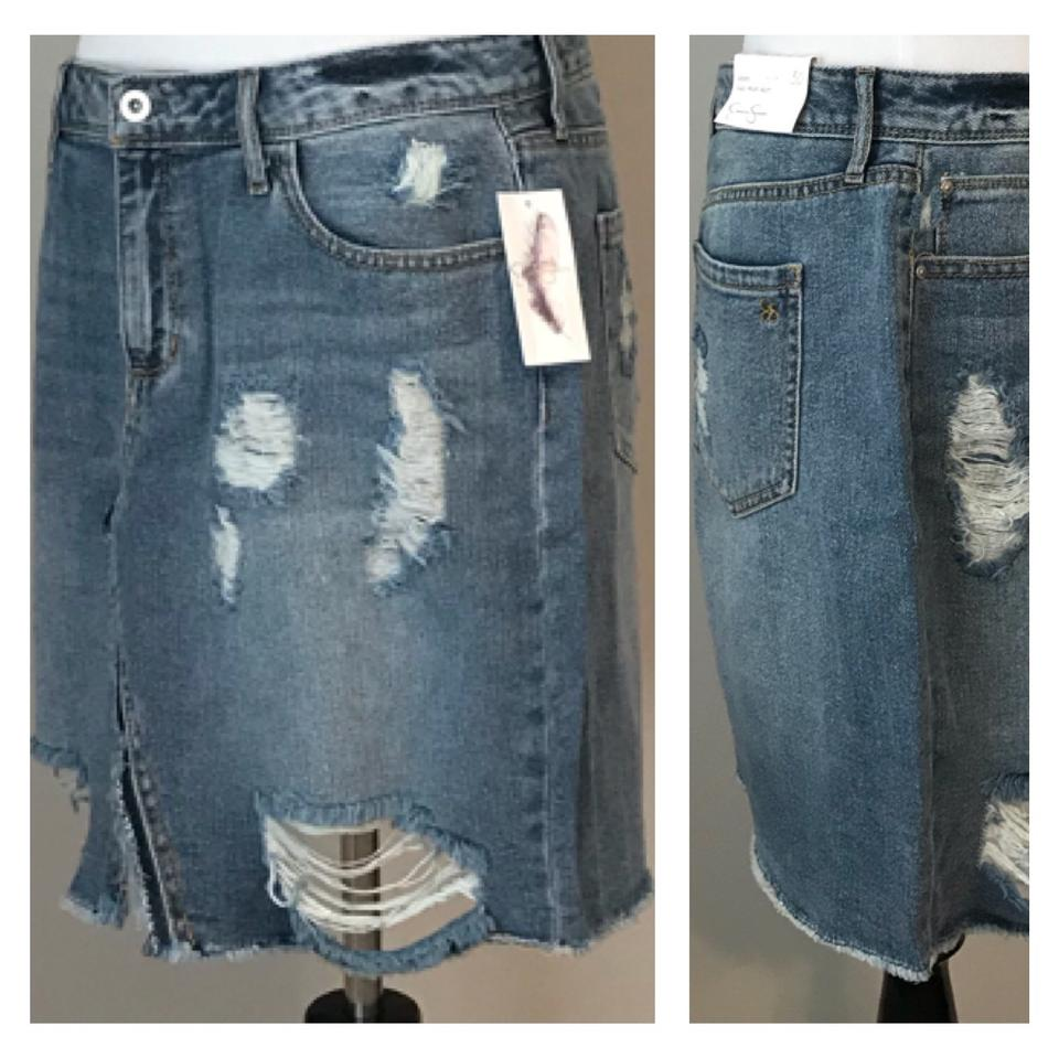 Jessica Skirt Retail Rise Simpson High Distressed 8m293054Off Blue Size Adorn 9IbH2DYeEW