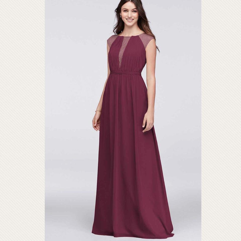 David S Bridal Wine Chiffon Bridesmaid Feminine Wedding Dress Size 16 Xl Plus 0x