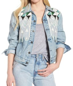Levi's Vintage Embellished Beaded blue, green Womens Jean Jacket