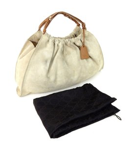 Gucci Satchel Italy Sukey Suede Tote in Beige