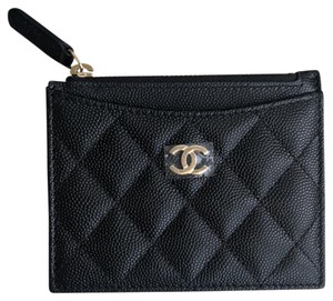 Chanel CHANEL 2018 Classic Caviar Gold O-Card Holder Zip Coin O-Case Wallet