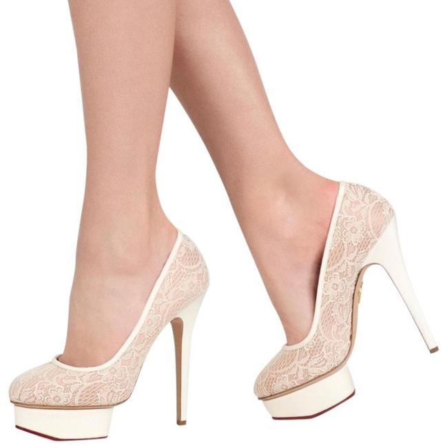 Item - Ivory Cream Lace Polly Heel 40 9 Platforms Size US 10 Regular (M, B)