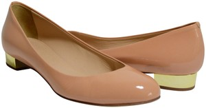 J.Crew Round Toe Metallic Patent Leather Nude Flats