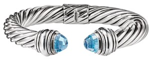 "David Yurman BEAUTIFUL!! David Yurman Blue Topaz Cable Hinged Cuff Bracelet Sterling Silver 10mm Wide Size: Small- 6.75"" 100% Authentic Guaranteed!! Comes with Original David Yurman Pouch!!"