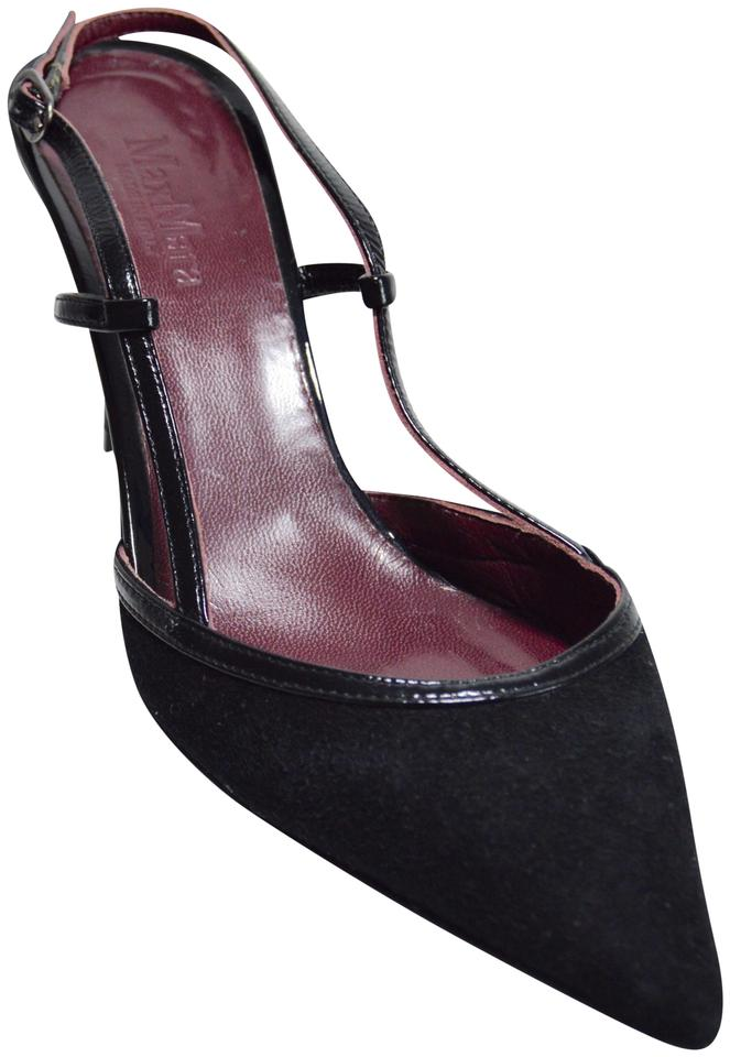 b2296377e1 Max Mara Suede Slingback Patent Leather Made In Italy Black/Purple Pumps  Image 0 ...