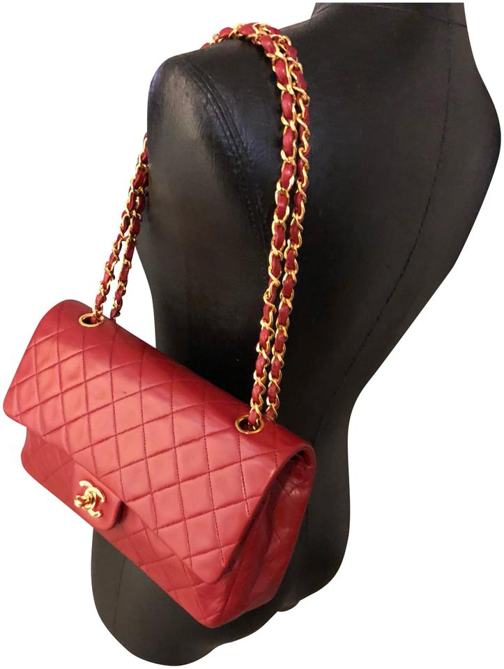 60ed0ad0b5d2 Chanel 2.55 Reissue Double Flap Classic Red Lambskin Leather Shoulder Bag