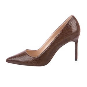 Manolo Blahnik brown leather print mocha Pumps