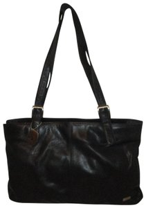 Stone Mountain Accessories Vintage Leather Shoulder Satchel Tote in black