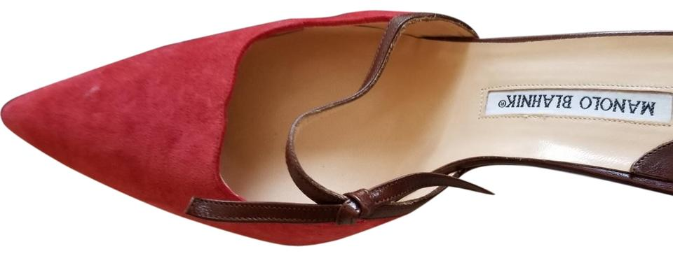 Manolo with Blahnik Brown and Red with Manolo Suede and Leather. Red/Brown Puton Kitten Heels Mules/Slides 402ada