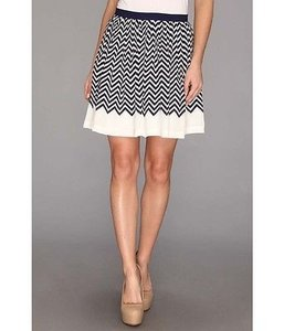 Joie Womens Dark Chevron Striped Silk Lined Short Joney Skirt Navy