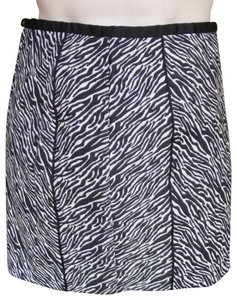 H&M Side Zip Zebra Stripe Lined Skirt Black & White