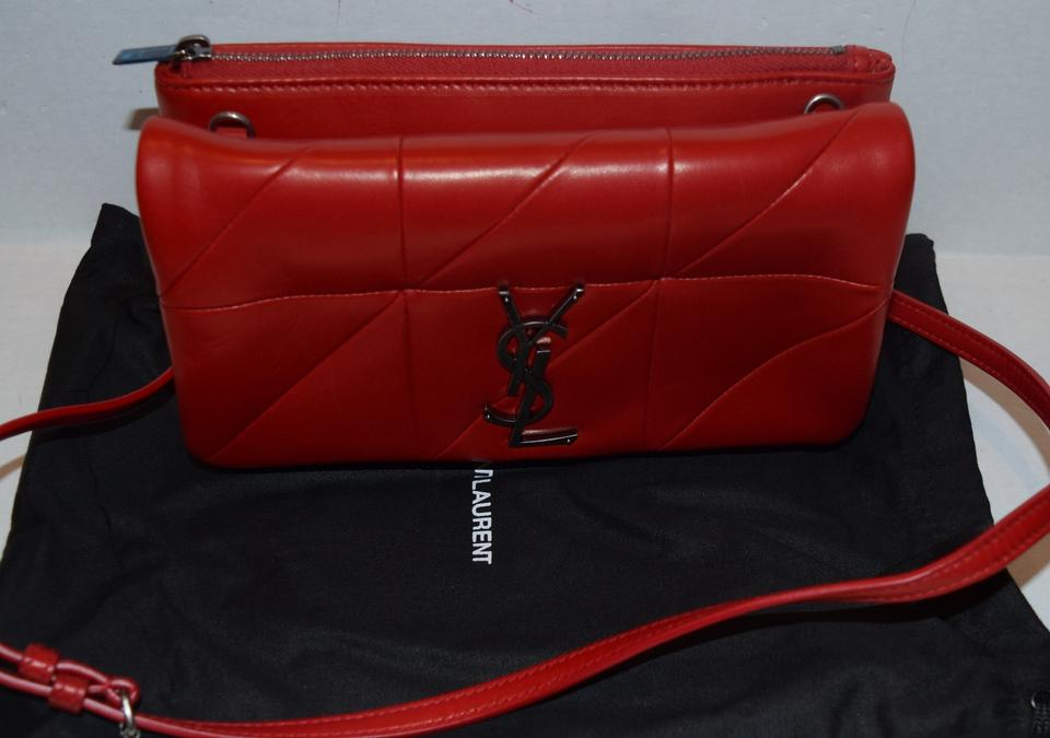1f7466a8991 Saint Laurent Chain Wallet Jamie Ysl Patchwork Monogramme Red Lambskin  Leather Cross Body Bag - Tradesy