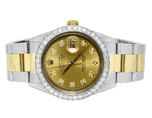 Rolex Mens Ladies Datejust 36mm 18k Stainless Steel Champagne Diamond 2.5 Ct