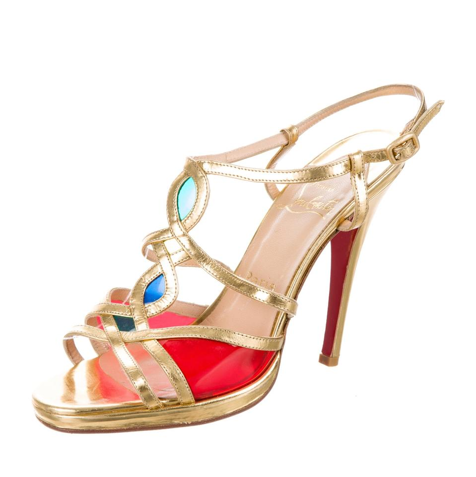 Christian Louboutin Gold Libelle Red Green Blue Golden Libelle Gold Caged Sandals ffa759