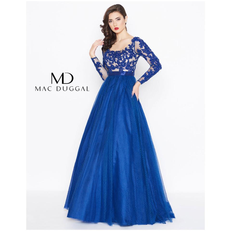 680bcea30dff Mac Duggal Couture Navy Tulle Sleeve Embellished Gown Long Formal ...