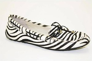 Sperry Top Sider Laura Womens White Black Zebra Moccasins Loafers Multi-Color Flats