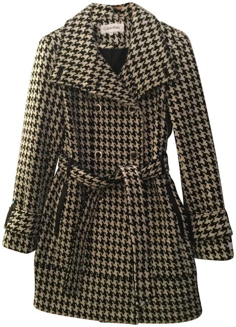 Item - Black and White Ck Herringbone Coat Size 0 (XS)