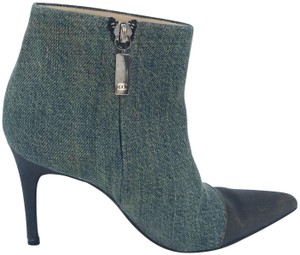 Chanel Ankle Denim Leather Accent Blue & Brown Boots