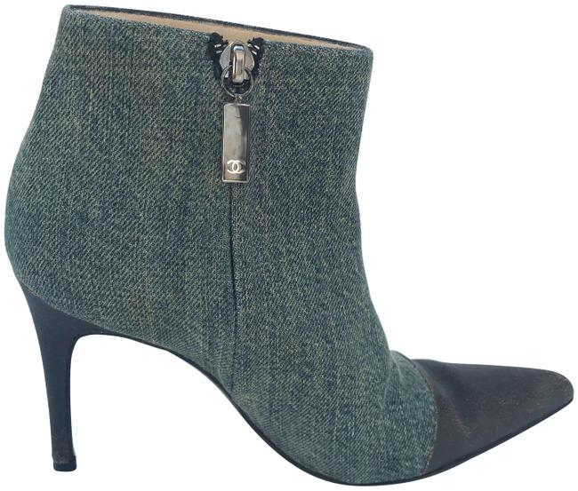 Chanel Blue & Brown Denim Exterior/ Leather Interior Ankle with Pointed Toe Boots/Booties Size EU 36 (Approx. US 6) Regular (M, B) Chanel Blue & Brown Denim Exterior/ Leather Interior Ankle with Pointed Toe Boots/Booties Size EU 36 (Approx. US 6) Regular (M, B) Image 1