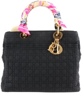 Dior Quilted Silk Fabric Tote Shopper Shoulder Bag