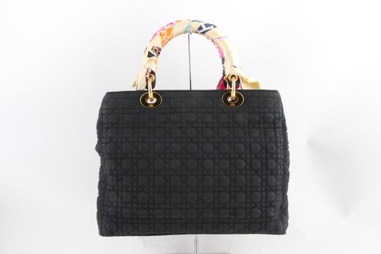 Dior Quilted Silk Fabric Tote Shopper Shoulder Bag Image 1