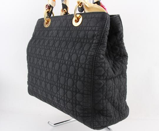 Dior Quilted Silk Fabric Tote Shopper Shoulder Bag Image 2