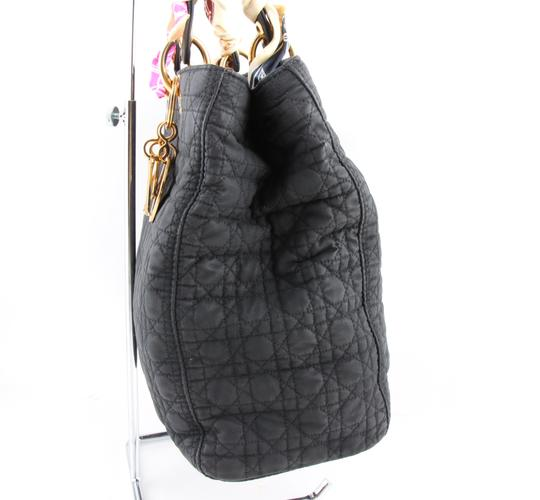 Dior Quilted Silk Fabric Tote Shopper Shoulder Bag Image 3
