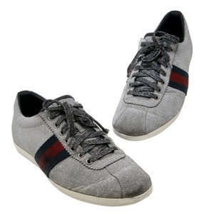 Gucci Gray Mens Studded Web Metallic Silver Glitter Low Sneakers Monogram Shoes