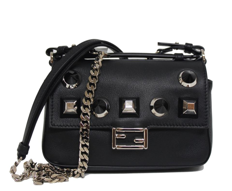 ed25047c69 Fendi New Double Micro Baguette Studded Black Leather Cross Body Bag ...