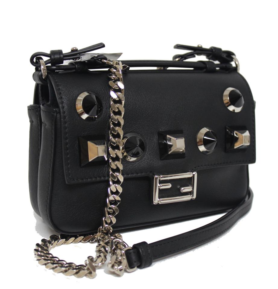 feda131c82 Fendi New Double Micro Baguette Studded Black Leather Cross Body Bag 27%  off retail