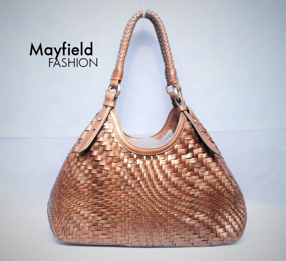 6f595bb072 Cole Haan Genevieve Woven Weave Leather Tote in Copper Bronze Image 6.  1234567
