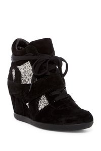 Ash Wedge Glitter Suede Leather Black Athletic