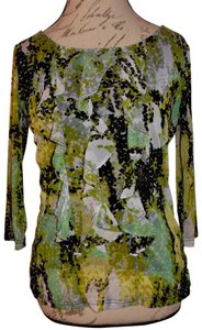 Lynn Ritchie Ruffles Speckles Top Black, Mustard Yellow, Green, White