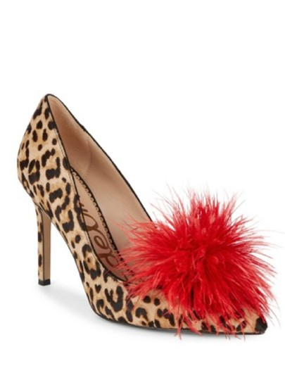 Sam Edelman Red Feather Heels Cheetah Pumps Image 0