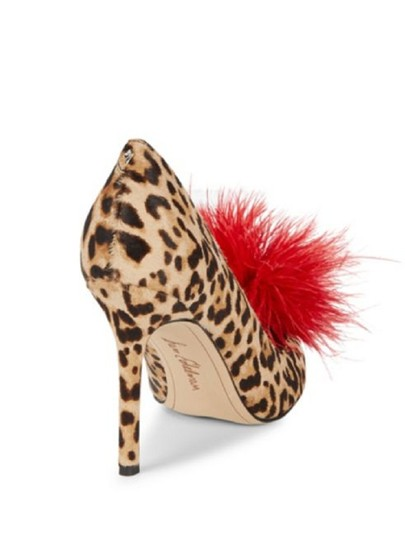 Sam Edelman Red Feather Heels Cheetah Pumps Image 1