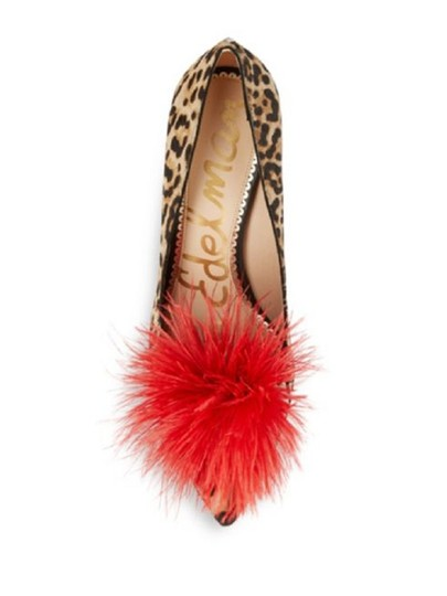 Sam Edelman Red Feather Heels Cheetah Pumps Image 2